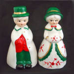 Boy and Girl Christmas Winter Couple Porcelain Bells
