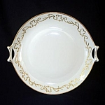 Click here to enlarge image and see more about item 5974: Hutschenreuther Selb Bavaria Gold Trimmed Scrolls Handled Serving Plate