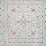 Click here to enlarge image and see more about item 6041-2: Full Size Chenille Bedspread, Pink and Green Flowers on White