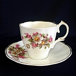 Click here to enlarge image and see more about item 6080: Jason English Bone China Apple Blossoms Lilacs Tea Cup and Saucer