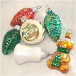 Click to view larger image of 6 Figural Glass Christmas Ornaments Bell, Pinecones, Sun Face, Teddy Bear (Image1)