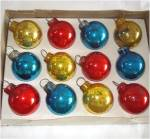 Click to view larger image of Box 1965 Shiny Brite Miniature Red, Blue, Gold Christmas Ornaments (Image2)