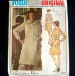Click here to enlarge image and see more about item 6407: Vogue Christian Dior Jacket Skirt Blouse Suit Pattern Size 14 Uncut
