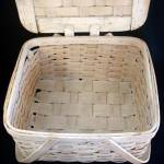 Click to view larger image of Antique Whitewashed Woven Wood Picnic Basket (Image3)