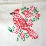 Click to view larger image of Embroidered Red Birds Kitchen Curtains, 3 Panels (Image5)