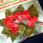 Click to view larger image of Holt Howard Velvet Beaded Christmas Rose Corsage Trim in Unopened Package (Image2)