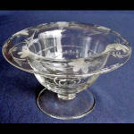 Click here to enlarge image and see more about item 664: Tiffin US Glass Crystal Whip Cream Bowl Compote with Flower Cutting