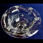 Click to view larger image of Tiffin US Glass Crystal Whip Cream Bowl Compote with Flower Cutting (Image3)