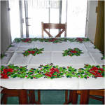 Click here to enlarge image and see more about item 6684: Holly and Bells Vintage 50 by 70 Inch Christmas Tablecloth