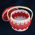 Click to view larger image of Red and White Woven Plastic Covered Sewing or Hair Curlers Basket (Image2)
