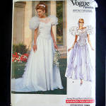 Click to view larger image of Vogue 1989 Wedding Bridal Dress Sewing Pattern Uncut Size 6-10 (Image1)