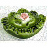 Click here to enlarge image and see more about item 718: Puffy Green Porcelain Jewelry Casket Box with Applied Pink Rose