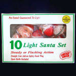 Click here to enlarge image and see more about item 7201: Santa Claus Christmas Tree Light Set in Original Box
