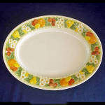 Click here to enlarge image and see more about item 7233: Metlox Vernon Ware Della Robbia Oval Serving Platter