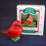 Click here to enlarge image and see more about item 7244: Hallmark 1988 Baby Redbird Clip on Christmas Ornament in Original Box