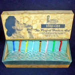 Click here to enlarge image and see more about item 7339: Retro 1950s Stop Ice Beverage Tumbler Ice Inserts Mint in Box
