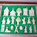 Click here to enlarge image and see more about item 7393-2: 20 Piece Ceramic Easter Bunny Village Display Set MIB