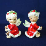 Click here to enlarge image and see more about item 7427-2: Lefton Christmas Holly Angels Candle Climbers Huggers