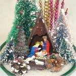 Click to view larger image of Christmas Nativity Scene Centerpiece With Bottle Brush Trees, Bead Spikes (Image3)