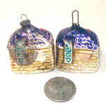 Click to view larger image of Pair 1920s Tiny Figural House Feather Tree Glass Christmas Ornaments (Image2)