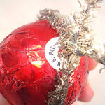 Click to view larger image of 1930s USA Red Foil and Tinsel Candy Container Christmas Ornament (Image2)