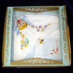 Click here to enlarge image and see more about item 7713: 3 Embroidered Floral Fruit of the Loom Hankies Unused in Box