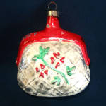 Purse With Embossed Flowers Glass Christmas Ornament