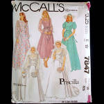 Click to view larger image of McCalls Priscilla 7847 Bridal Wedding Gown Sewing Pattern Uncut Size 10 (Image1)