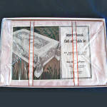 Click to view larger image of 1950s Pink Damask Tablecloth and Napkins Set Mint in Box (Image3)