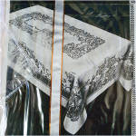 Click to view larger image of 1950s Pink Damask Tablecloth and Napkins Set Mint in Box (Image4)