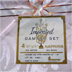 Click to view larger image of 1950s Pink Damask Tablecloth and Napkins Set Mint in Box (Image5)