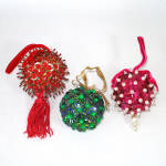 Click here to enlarge image and see more about item 7859-2: Beaded Sequined Christmas Ornament - Blue Green