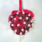 Click here to enlarge image and see more about item 7859-3: Beaded Sequined Christmas Ornament Deep Pink and Pearls