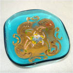 Enameled Blue Venetian Glass Pin Dish or Ashtray With Label