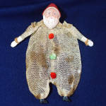 Click here to enlarge image and see more about item 7972-3: 1930s Mesh Netting Santa Claus Candy Container