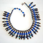 Click here to enlarge image and see more about item 8090: Blue Aurora Borealis Crystal Bib Collar Dangle Necklace