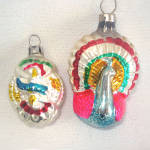 Click here to enlarge image and see more about item 8161: Czech Eagle Shield and Peacock Glass Christmas Ornaments