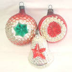 Click here to enlarge image and see more about item 8167: Germany Fancy Star Indent Bumpy Glass Christmas Ornaments