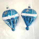 Blue White Mica Stars Parachute Glass Christmas Ornaments