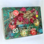 Click here to enlarge image and see more about item 8260: Box PINK GE Merry Midget Tinsel Flower Christmas Lights