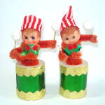 Retro Japan Christmas Pixie Elf in Drum Figures