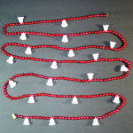 Click here to enlarge image and see more about item 8447-2: Red Mercury Glass Beaded Christmas Garland with Bells