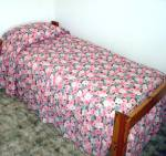 Click here to enlarge image and see more about item 8456: 1960s Never Used Blue Pink Floral Seersucker Twin Bedspread, 2 Available