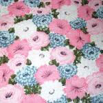 Click to view larger image of 1960s Never Used Blue Pink Floral Seersucker Twin Bedspread, 2 Available (Image3)