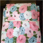 Click to view larger image of 1960s Never Used Blue Pink Floral Seersucker Twin Bedspread, 2 Available (Image4)