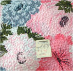 Click to view larger image of 1960s Never Used Blue Pink Floral Seersucker Twin Bedspread, 2 Available (Image5)