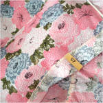 Click to view larger image of 1960s Never Used Blue Pink Floral Seersucker Twin Bedspread, 2 Available (Image6)