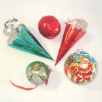 Click to view larger image of Lot 5 Foil, Metal, Paper Mache Christmas Candy Containers (Image1)