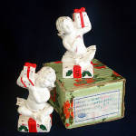 Click here to enlarge image and see more about item 8604: Napco Christmas Cherubs Salt Pepper Shakers in Original Box