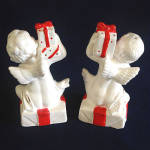 Click to view larger image of Napco Christmas Cherubs Salt Pepper Shakers in Original Box (Image3)